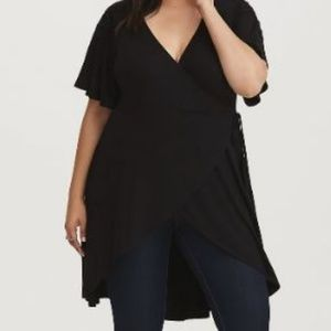 BLACK CROCHET TRIM WRAP TUNIC (19N)